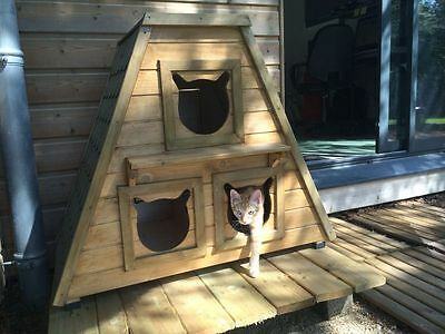 Wooden Pet House Cat Shelter Kennel Play Outdoor Bed Kitten Cats Garden Home NEW