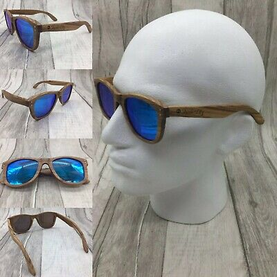 2019 Handcrafted Natural Bamboo Wood Frame Blue TAC Polarized Sunglasses