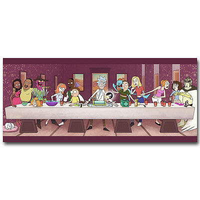 Rick and Morty Cartoon Silk Poster Print 13x30 inch All Characters Last Supper