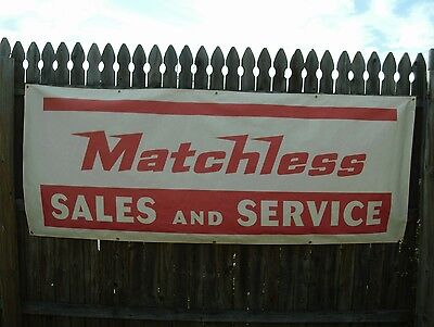 "Vintage Matchless Dealer Cotton Canvas Banner Sign Flag 1960's  7'-5"" x 2'-10"""