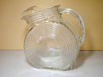 Vintage Deco Ribbed Glass Water Pitcher Disc