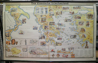 Schulwandkarte Wandkarte wall map card Griechenland classical greece 195x121cm