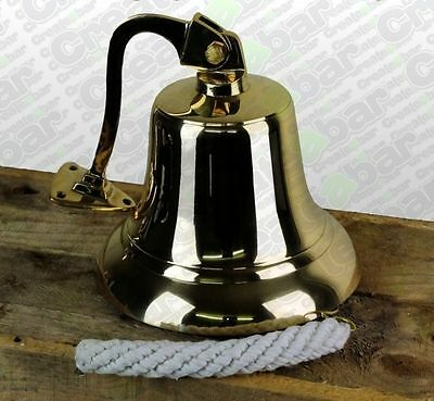 """7"""" Pub Last Orders Wall Bell - SOLID Brass - Large - Hanging Ships Bell"""