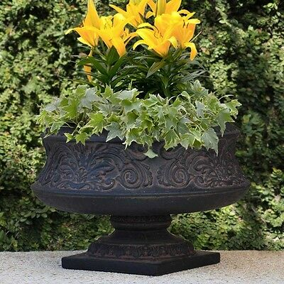 MPG Cast Stone Ornate Low Urn In Aged Charcoal Flower Pot Garden Decorative Vase