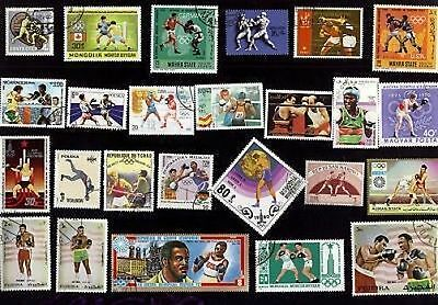25  All Different BOXING  on Stamps