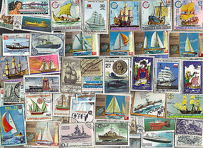 300 All Different SHIPS & BOATS on Stamps. A HUGE COLLECTION
