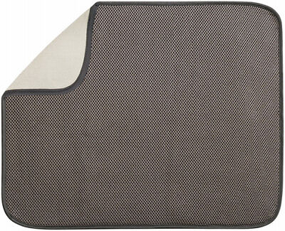 INTERDESIGN Dish Drying Mat, Mocha/Ivory, 18 x 16-In.