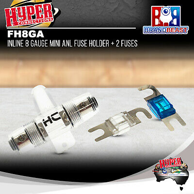 Hyper Connections Nickel Plated Fh8Ga 8 Awg Gauge Mini Anl Fuse Holder + 2 Fuses
