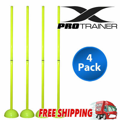 Agility Slalom Training Poles With Round Base 2 Section Fluorescent Green 4 Pack
