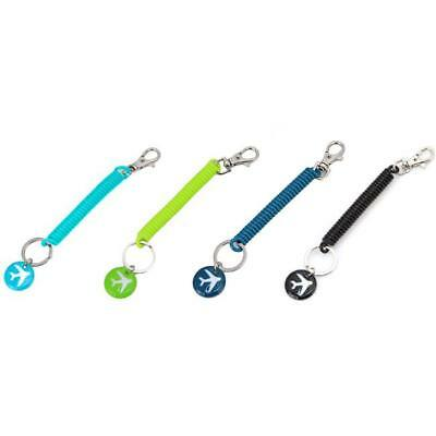 Travel Safety Elastic Spiral Spring Coil Strap Rope Lanyard Keychain Keys Holder