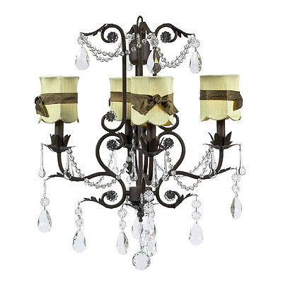 Jubilee 4 Arm Valentino Chandelier in Mocha with Sage Green Shades NEW IN BOX