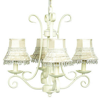 Jubilee 4 Arm Harp Chandelier in Ivory with Skirt Dangle Ivory Shades NEW IN BOX