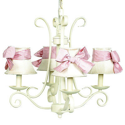 Jubilee 4 Arm Harp Chandelier in Ivory with Ivory Shades Pink Sash NEW IN BOX