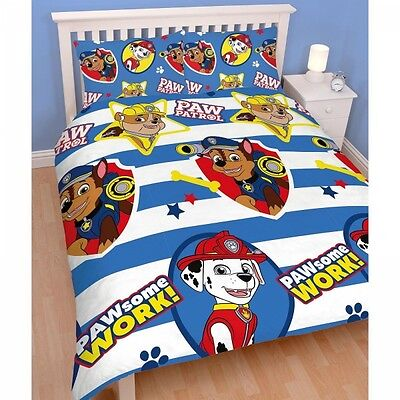 Paw Patrol 'Pawsome' Reversible Rotary Double Bed Duvet Quilt Cover Set New Gift