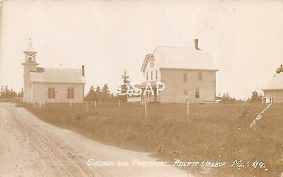 Maine Me Postcard Real Photo RPPC 1912 PULPIT HARBOR Church and Parsonage