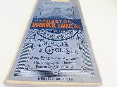 Vtg Bartholomew Reduced Survey Map Scotland Tourist Cyclists Paper Mounted
