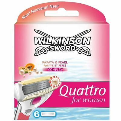 Genuine Wilkinson Sword Quattro Razor Shaving Blades Refills for Women - 6 Pack