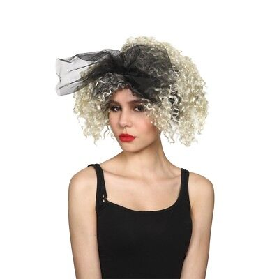 80's Madonna Blonde Black Celebrity Material Girl Wig With Bow Fancy Dress Wigs