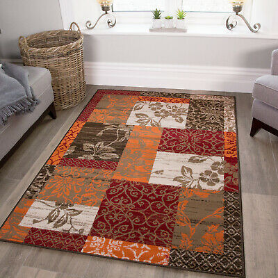Milan Brown Red Orange Beige & Cream Patchwork Rug Rugs in 9 Sizes Large - Small