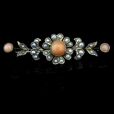 Antique Coral Pearl 14k & 10k Gold Brooch Pin Floral Vintage Victorian c.1800s