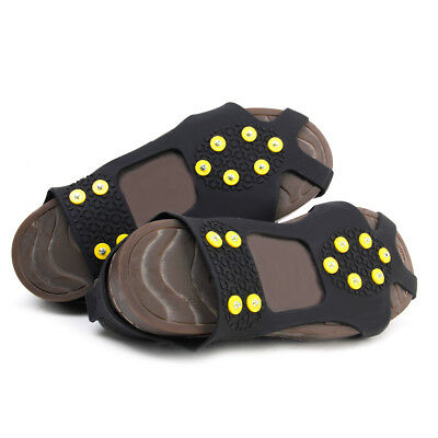 Anti-Slip Ice Snow Walking Spikes Grips Cleats Crampons For Shoes Boots Size L