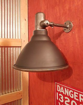 Vintage Industrial Sconce - Flood Light w/ Articulating Arm, Glass Lens REWIRED