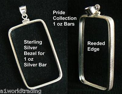 NEW .925 STERLING SILVER BEZEL PENDANT for 1 oz Pride SILVER BAR Fits 29 x 50 mm