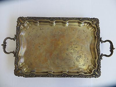 Vintage Beautiful Large Metal Cocktail Bread Serving Plate Tray