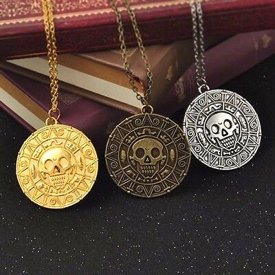 Pirates of the Caribbean Movie Aztec Gold Medallion Pendant Necklace Coin