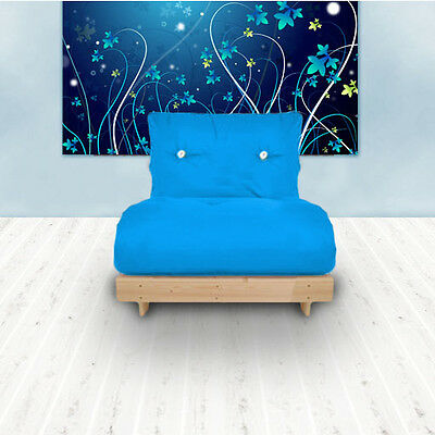 Blue Budget Single Futon Cotton Mattress 1 Seater Sofabed Sofa Guest Armchair