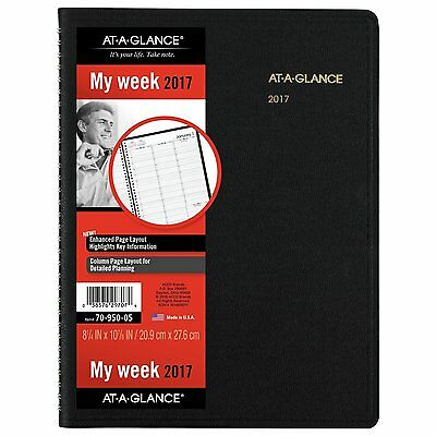 """AT-A-GLANCE Weekly Appointment Book 2017 8.25 x 10-7/8"""" Black 70-950-05"""