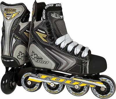 TOUR Hockey Thor 808 Inline Roller Skates Junior Youth Size 2 Grey Black 37TY