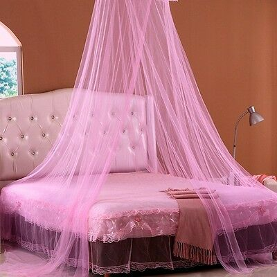 New Round Lace Curtain Dome Princess Bed Canopy Netting Mosquito Net White Pink