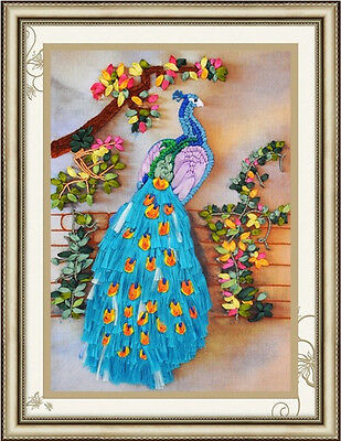 3D DIY Ribbon Embroidery Kit Beautiful Blue Peacock Tree Flowers 45*60cm Gift
