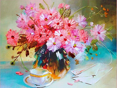 New Beautiful Luxury Flower Vase Pink Flowers 3D Ribbon Embroidery Kit 47*60CM