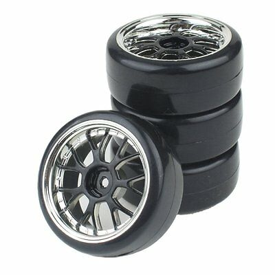 4P Plating Y shape Wheel Rims&Smooth Plastic Tires for HSP HPI RC1:10 Drift Car