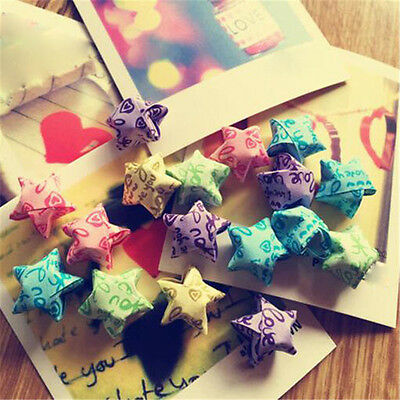 100pcs/pack I Love You Heart Lucky Stars Origami Folded Paper Craft Random Color