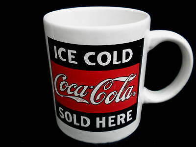 Coffee Mug Ice Cold Coca Cola Sold Here Iconic Coke Ad Promo 1996 Black Red