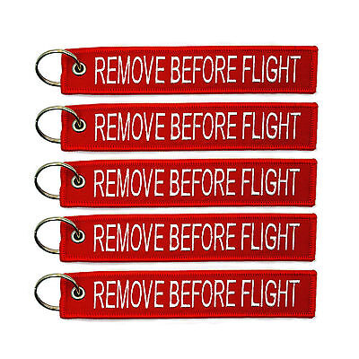 5 Pcs Red Linen Lanyard Remove Before Flight Pilot Bag Luggage Tag Keychain