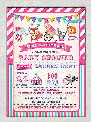 CIRCUS GIRL BABY SHOWER Invitation Pink Retro Carnival Party Invite Fox Elephant