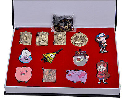 Gravity Falls Characters Keychain Set Bill Waddles Mabel  Necklace pendant +box