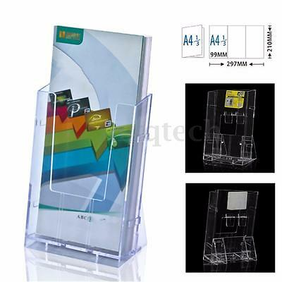 Clear Acrylic Business Card Holder Brochure Desk Stand Pamphlet Display 1/3 4A