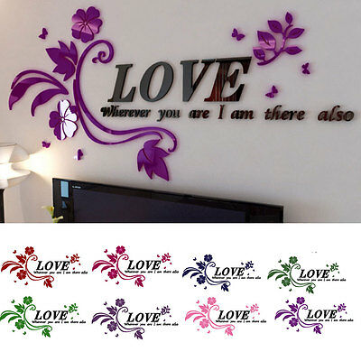 3D Flower Decal Vinyl Decor Art Home Living Room Wall Sticker Removable Mural EW