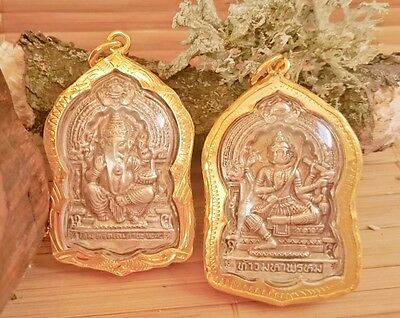 SOLID  Authentic Ganesh Shiva Vichnu Pendant Silver Gold Amulet Shrine Necklace