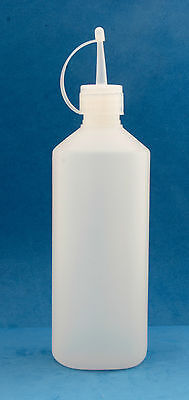 10 x 500ml Round Natural Plastic Bottles with 28mm Oil Spout Screw Caps