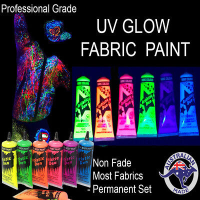 6 x 50ml UV GLOW NEON FABRIC PAINT Rave Party Splatter
