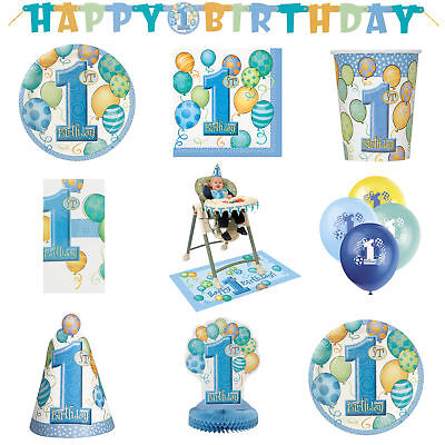 60 Item Set 1st Birthday Party Boys Swirly One Blue Decorations & Tableware