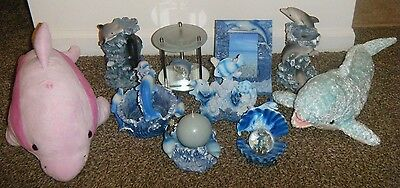 Collectible Ocean Sea Life DOLPHIN Lot of (10) Figurine Candle Plush Frame