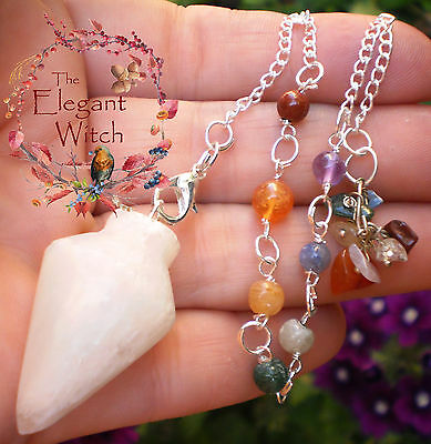 White Selenite Pendulum with Rainbow Chakra Stones Crystal Healing Wicca Pagan