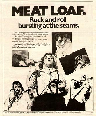 """1978 Meat Loaf """"bat Out Of Hell"""" Album Ad"""